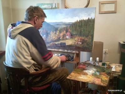 Ryszard Tyszkiewicz maluje Kwiat Paproci