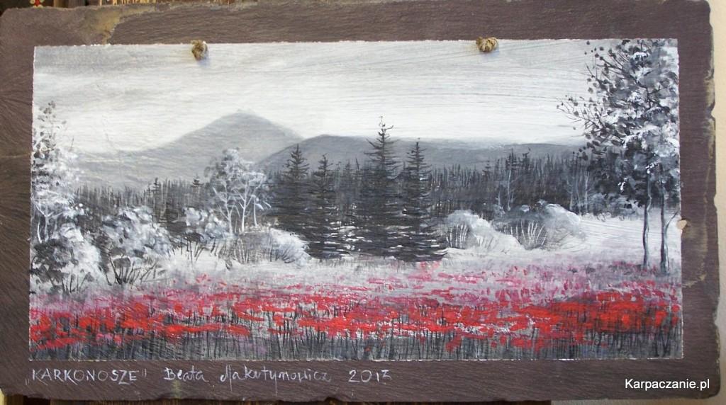 Beata Makutynowicz - Pejzaż karkonoski malowany na łupku
